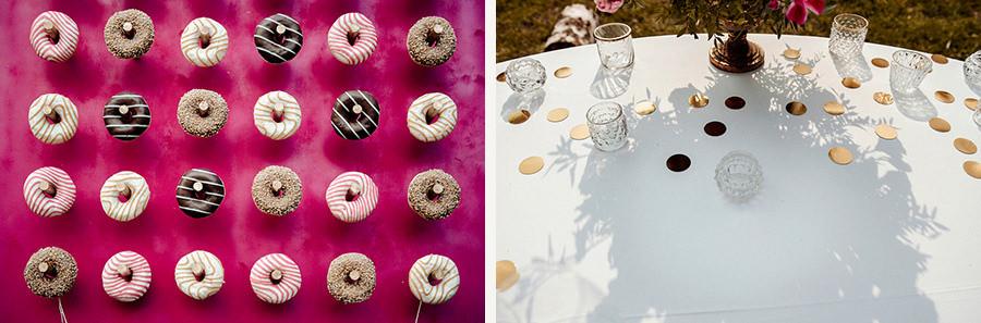 ścianka z donutów - wesele w plenerze